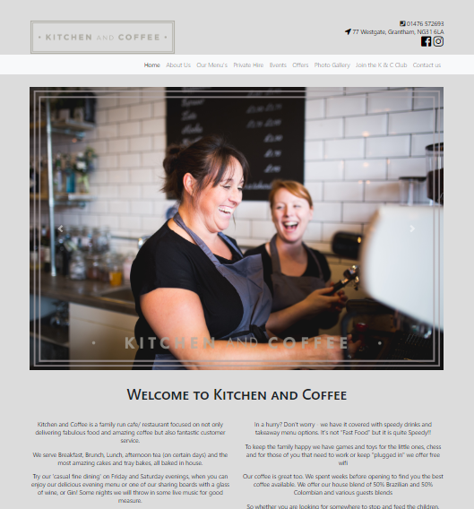 screenshot of Kitchen and Coffee Website